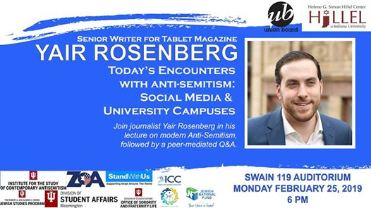 Talk by Yair Rosenberg, Monday, February 25, 2019, SWAIN 119 Auditorium, 6pm