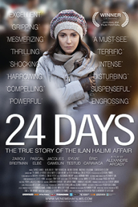 "Movie poster for the movie ""24 Days"".  The poster shows a woman wrapped in a coat, scarf, and hat."